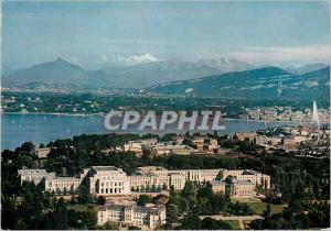 Modern Postcard Geneva Aerial view of the Palais des Nations and the Mont Bla...
