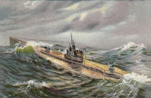 German U-Boat (Submarine) on surface in Storm, 00-10s