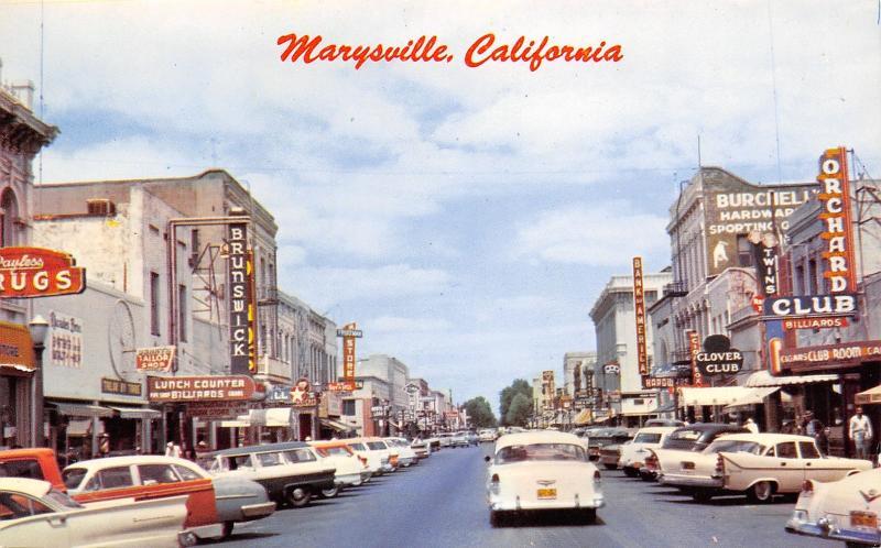 Marysville California~US 99E~Brunswick Billiards~Lunch~Clover Club~1950s Cars