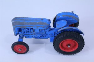 Vintage Steel Toy Tractor with Plastic Wheels Blue Color 5 long x 2 tall