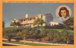 Los Angeles California 1956 Postcard Home Of Jane Withers Movie Star Actress