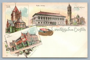 GREETINGS FROM BOSTON MA PIONEER 1895 ANTIQUE POSTCARD Trinity Church Library