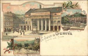 Saluto da Genova Italy Gruss Aus Style c1900 UDB Postcard