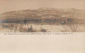 LPS72 Jaffrey Centre New Hampshire Mt. Monadnock in Winter Postcard RPPC