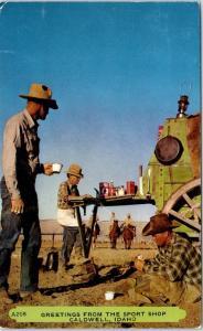CALDWELL, ID  COWBOYS at LUNCH WAGON  1955  SPORT SHOP AD  Postcard