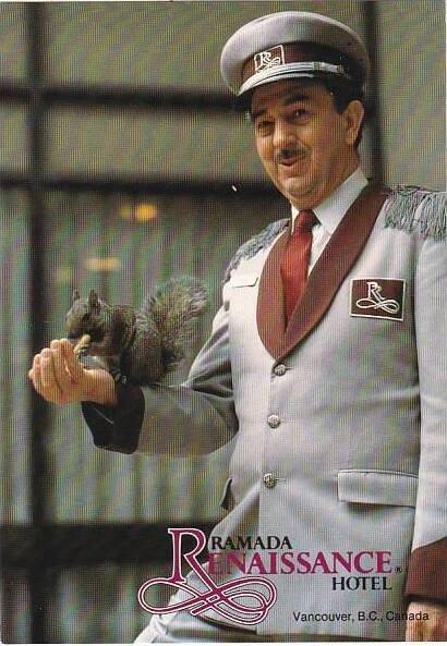 Canada Vancouver Ramada Hotel Doorman Bob Grieves Feeding Squirrel Suzie