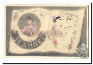 Old Postcard Jeanne Surname Fancy I think of you