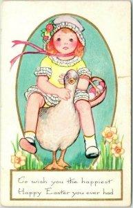 Whitney EASTER GREETINGS Postcard Little Girl Riding Goose / Egg Basket c1925