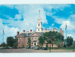 Unused 1950's OLD CARS & NEW STATE HOUSE Dover Delaware DE r9687
