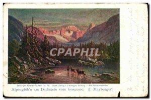 Old Postcard Alpengluhn Vom Dachstein Gosausee Am J Mayburger