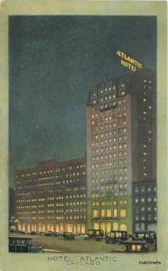 1920s Hotel Atlantic Night Chicago Illinois automobiles Teich linen 3197