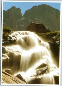 postcard CO Rocky Mountain National Park Columbine Falls down to Peacock Pool