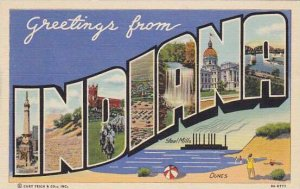 Greetings From Indiana Large Letter Linen
