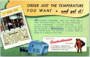 Vintage Linen Advertising Postcard COMBUSTIONEER Coal Heater Curteich Linen 1940