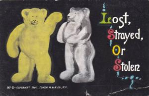 Two Teddy Bears, Yellow and White, Lost Strayed, or Stolen, PU-1910