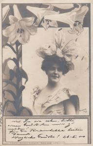 RP Easter Lilly flower girl, N.P.G. photo postcard, PU-1900