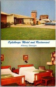 Albany, Georgia Postcard OGLETHORPE MOTEL and Restaurant Room Interior c1950s