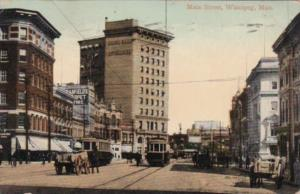 Canada Winnipeg Trolley On Main Street 1910