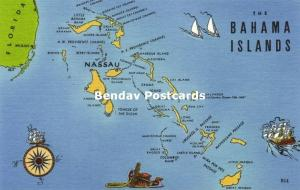 Bahama Islands, Nassau, MAP Postcard (1940s)