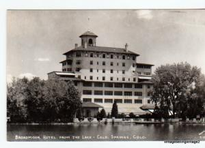 RPPC Broadmoor Hotel, from the lake, Colorado Springs, CO. Signed Sanborn S1063
