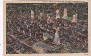 Missouri Kansas City Aerial View By Night Curteich