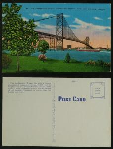 Windsor ambassador bridge , Detroit Linen  G-VG