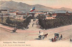 Antofagasta Chile Plaza Ferrocarril Street Scene Vintage Postcard JA4741244