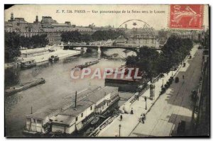 Old Postcard Paris panoramic view of the Seine Towards the Louvre