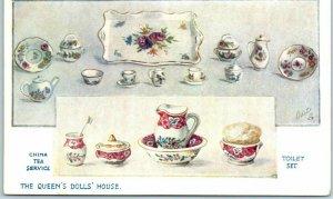 1910s Tuck's Oilette Postcard QUEEN'S DOLL HOUSE Toilet Set Series V Unused