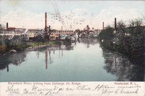 Blackstone River Looking From Exchange Street Bridge Pawtucket Rhode Island 1905
