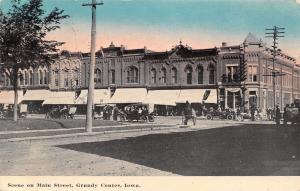 Grundy Center Iowa~Main Street Scene~Vintage Cars Parade With Placards~c1912