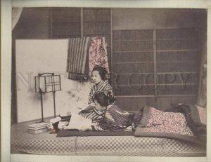 090634 JAPAN Geisha girls & Japanese ship Vintage two PHOTOS