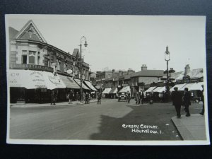 London Middlesex HOUNSLOW Cressy Corner FOUNTAIN ICES c1930s RP Postcard