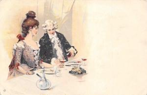 Lovers Couple at Table, Victorian Edwardian Fashion Clothing, Postcard