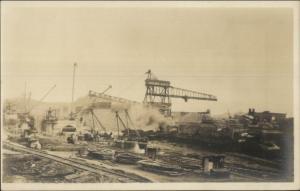 Mining Operation Cranes RR Tracks Nice Unidentified Image c1910 RPPC