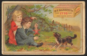 VICTORIAN TRADE CARD Babbitts Yeast Boy Girl Dog & Puppet