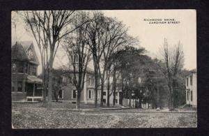 ME Vintage view Houses on Gardiner St Richmond Maine Postcard PC Carte Postale