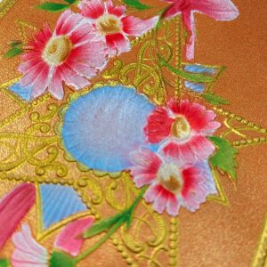 Gorgeous Fancy copper metallic embossed flowers silk star birthday vtg postcard