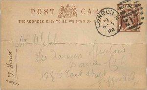 Entier Postal Stationery Postal Britain Great Britain 1 / 2p 1892 London