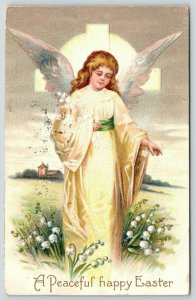 Clapsaddle Easter~Little Girl Angel in Yellow~Walks in Lily of Valley~Embossed