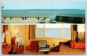 Bayfield Wisconsin~Portable TV~Corner Chair~Ash Tray~Seagull Bay Motels~1960s