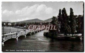 Postcard Modern Switzerland Geneva Mont Blanc Bridge and Ile Rousseau