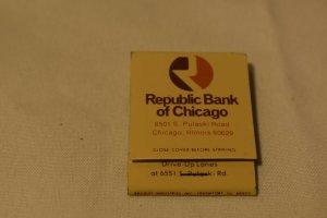 Republic Bank of Chicago Illinois 20 Strike Matchbook
