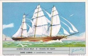 Liebig Trade Card S1803 Story of Sail No 6 Avvento del vapore