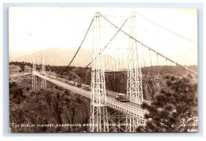 Postcard Worlds Highest Suspension Bridge, Royal Gorge, CO 1946 RPPC H14