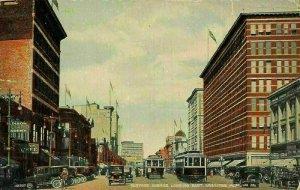 Canada Portage Avenue Looking East Winnipeg Tram Vintage Cars Postcard