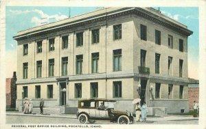 Automobile Federal Post Office Building Pocatello Idaho 1920 Postcard 20-6012