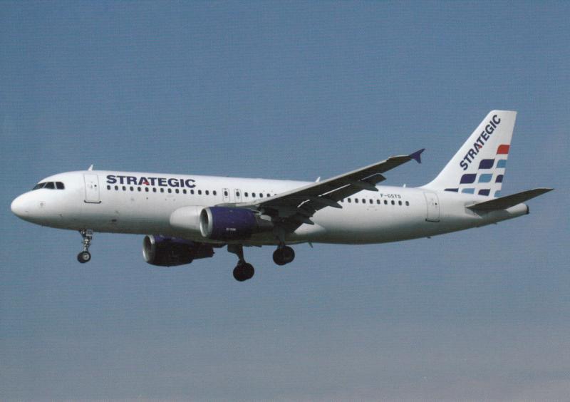 STRATEGIC AIRLINES, A320-211, unused Postcard
