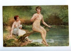 171197 Nude NYMPH on Pond by BALLAVOINE old SALON LAPINA #217