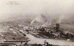 Michigan Detroit Ford Motor Company Aerial View Rouge Plant 1931 Real Photo